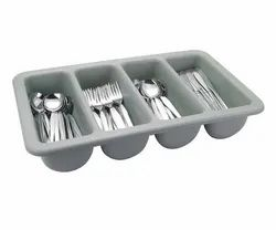 Plastic Rectangle Cutlery Rack, For Bar, Size: 4 Compartment