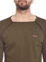 Men Full Sleeve Solid Brown Thunbhole Square Neck T-Shirt