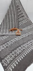 Exclusive Natural Bagru Hand Block Printed Cotton Saree.