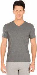 V Neck Grey Cotton T Shirt.Plain Grey