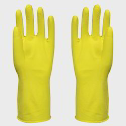 PVC Supported Yellow Hand Gloves