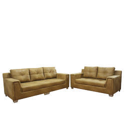 Fabric and Leatherette Five Seater Sofa Set, Warranty: 3 Year