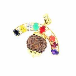 5 Faced Rudraksha And Genuine Semi Precious Navratna Gemstone Pendant