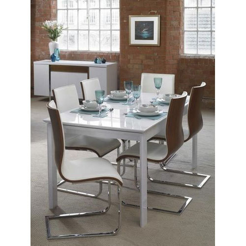 Wood And Stainless Steel 6 Seater Rectangular Dining Table Length Feet
