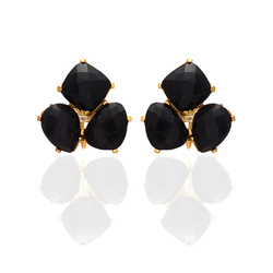 Trillion Gemstones Fancy Shape Hot Look Earring Gold Plated Ear Stud Freestyle Jewelry