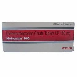 Hetrazan 100 mg Diethylcarbamazine Citrate Tablet, 45 Blister Fo 30 Tablets Each