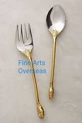 Brass Fitted Steel Cutlery Set