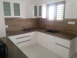 Wooden C Shape Modern Modular Kitchen Cabinets