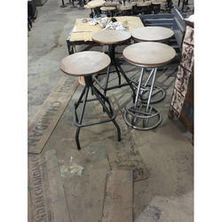 Wood Top Iron Bar Stool