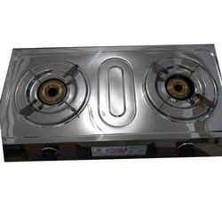 Silver SS Two Burner Stove, For Kitchen