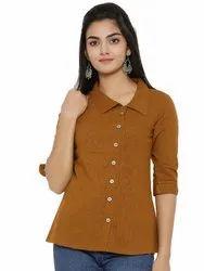 Yash Gallery Women's Cotton Slub Solid Shirt