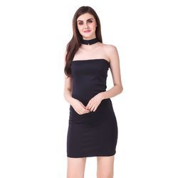Scuba Off-Shoulder Brown Party Wear Dress, Length: 35 inch