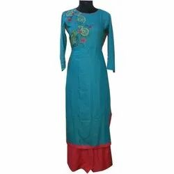 Cotton Casual Wear Ladies Embroidered Suit, Size: S-XL