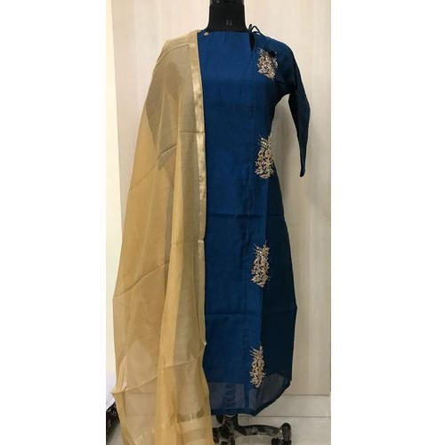 Aamyra Wedding Wear Chanderi Silk Long Kurti, Dry clean