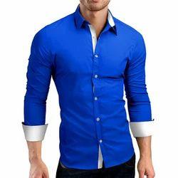 Royal Blue Full Sleeves Men Stylish Plain Shirt