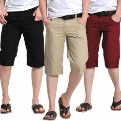 Plain Polyester Men's Capri
