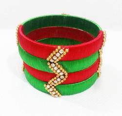 Red And Green Silk Thread Bangles Set
