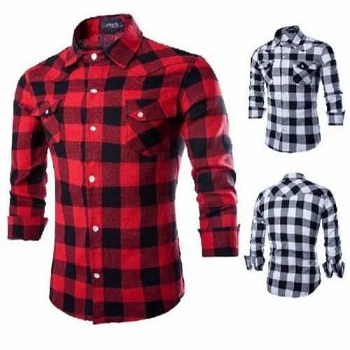 Casual Wear Mens Check Cotton Shirt