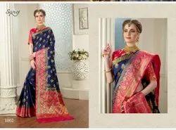 Blue Color Cotton Designer Saree