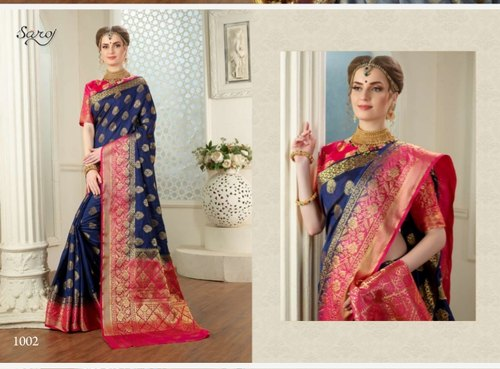 Blue Color Cotton Designer Saree