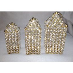 Golden Brass Decorative Crystal Craft, For Decoration