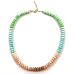 Multi Color Opal Stone Smooth Beads Necklace Blue Green Pink