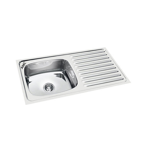 Stainless Steel 37x18x8 Amc Single Bowl Sink With Drain Board Rs