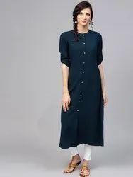 Womens Mandarin Neck Solid Kurti, Size S,M,L,XL,XXL