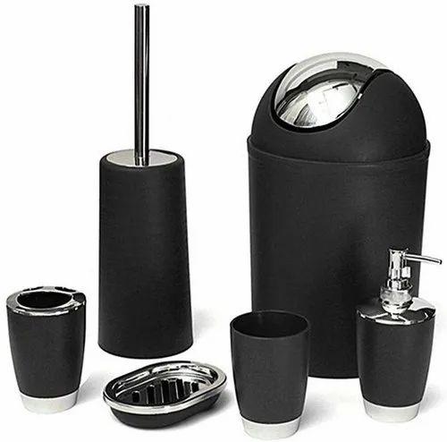Black Bathroom Accessories Set 6 Piece Packaging Type Color Box Size 30 X 19 X 19 Cm Rs 499 Unit Id 21652717488