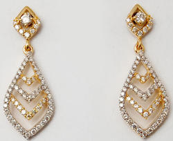 Dual Tone Prong Set Diamond Studded Pear Shaped Pretty Hanging Earrings