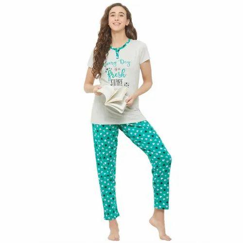 Evolove Printed & Placket Ladies Night Suits(Pajama Set)
