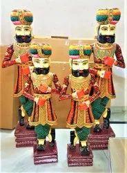 Aaditya Exports Painted Wooden Painting Chokidar Statue, Size/Dimension: 18