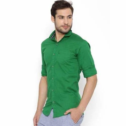 47ea0323bc5b8 S And L Slim Fit Mens Dark Green Shirt