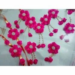 Artificial Pink Golden Flower Jewelry For Baby Shower
