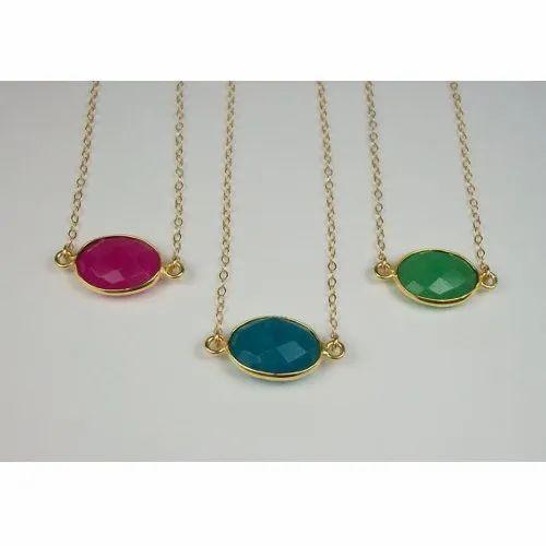 Chalcedony Gemstone Bezel Set Necklace