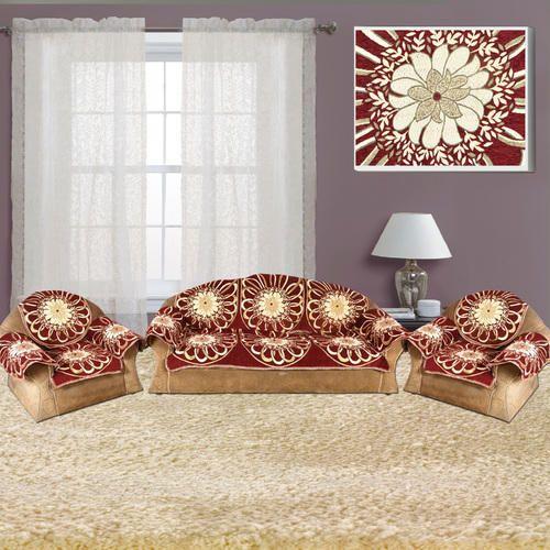 Fl Designer Velvet Sofa Cover 5 Seater