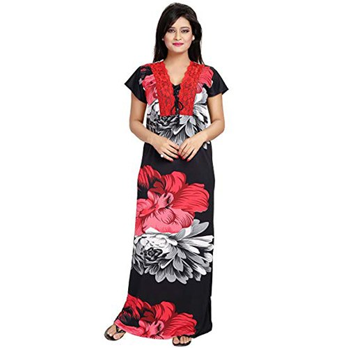 Stitched Ladies Cotton Half Sleeve Printed Nightgown