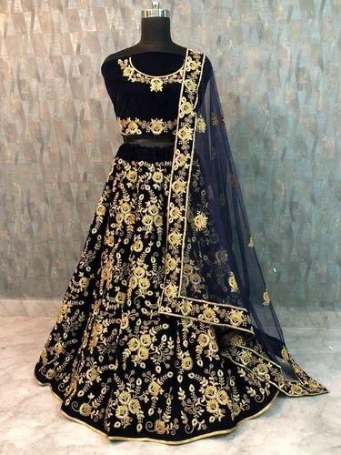 3c802aa0a4f27 Taffeta Velvet Silk Indian Designer Embroidered Lehenga Choli, Rs ...