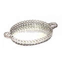 clear crystal bead round tray with handle nickel finish