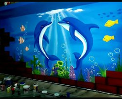 Aquarium 3d wall  painting