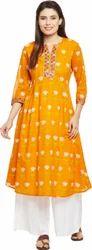 Cotton Casual Wear Orange Kurti