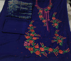 Blue Embroidered Punjabi Suit