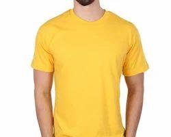 Yellow-Plain/Basic Round Neck T-Shirt
