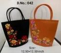 Malty Poly Dupion Silk Ladies Embroidered Hand Bag