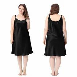 Black Plain Ladies Silk Gown