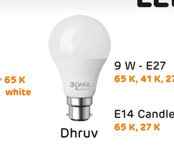 Daril 9W E27 LED Bulb, Base Type: B22