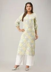 3/4th Sleeve Designer Work Straight Kurtis, Size: M, L,XL and XXL