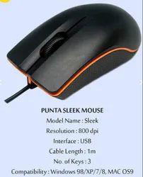 Black Punta Mouse Sleek USB