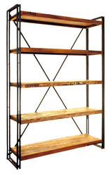 Large Bookcase Made Of Metal Frame And Recycled Wood