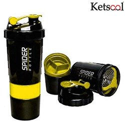 Ketsaal Spider Protein Shaker Bottle 500mL with 2 Storage Extra Compartment for Gym